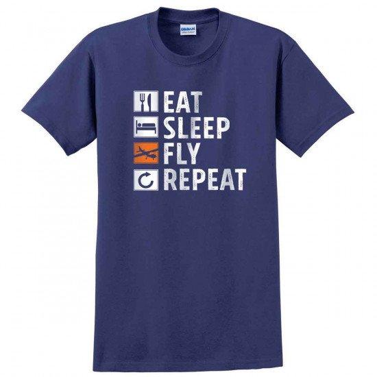 Футболка авиационная Eat, Sleep, Fly, Repeat мужская