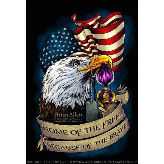 Знак металлический Purple Heart Eagle & Flag