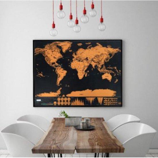 Карта мира WEROUTE 2 Golden Travel Black 42x30cm