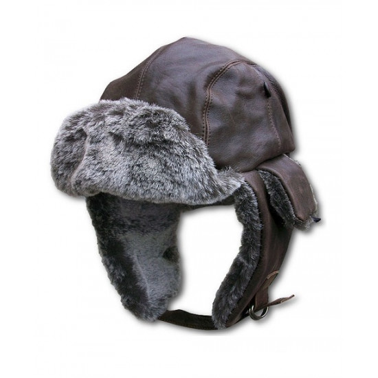Шапка USWINGS Vintage Leather Aviator Trapper Cap