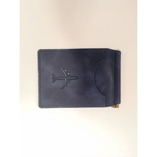 Зажим для денежных банкнот авиационный portUPeya Aviation синий