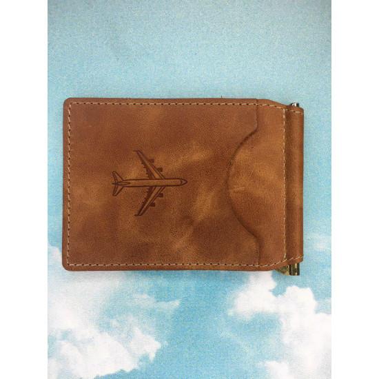 Зажим для денежных банкнот авиационный portUPeya Aviation светло-коричневый