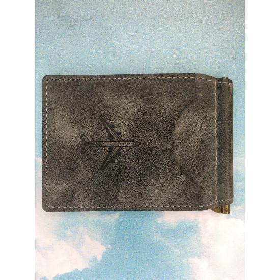 Зажим для денежных банкнот авиационный portUPeya Aviation серый