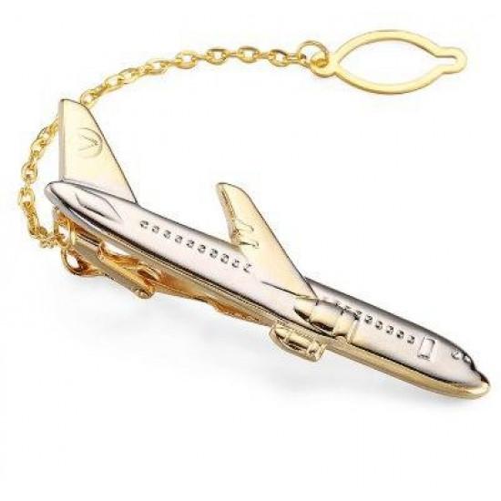 Зажим для галстука авиационный Jiaocharmei Gold Plane медь