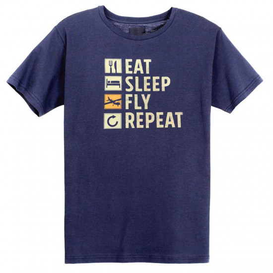 Футболка авиационная Eat, Sleep, Fly, Repeat мужская