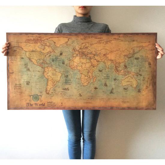 Карта мира BLINGIRD Kraft Paper