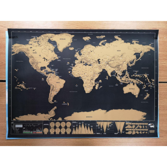 Карта мира винтажная WEROUTE 1 Golden Travel Black 59x82cm