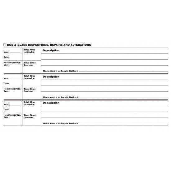Книга учёта наработки и ТО винта Propeller Log