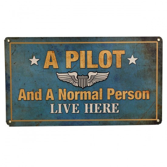 Знак авиационный A Pilot and A Normal Person Live Here металлический